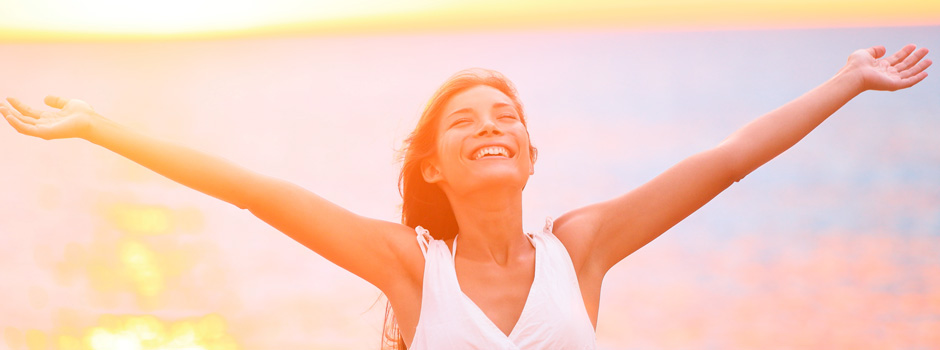 woman happy in morning