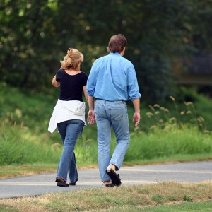 woman and man going for a walk