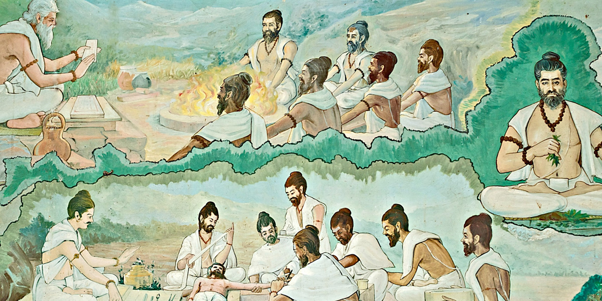 Sages learning Ayurveda from Lord Atreya and Sushruta
