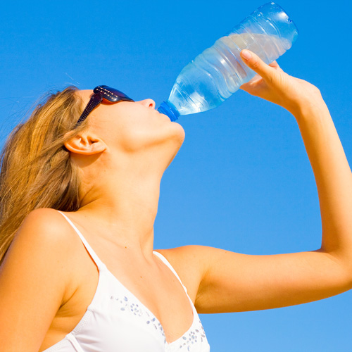 drinking water on a hot day