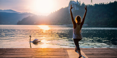 Sun Salutation by lake