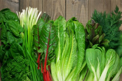 Various fresh green leafy vegetables