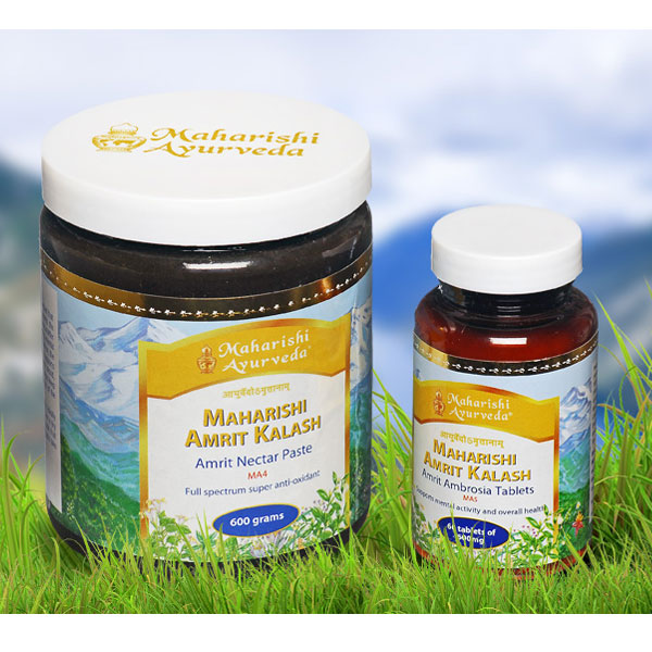 Maharishi Amrit Kalash is a two-part formula consisting of Nectar and Ambrosia and each contain different ingredients.