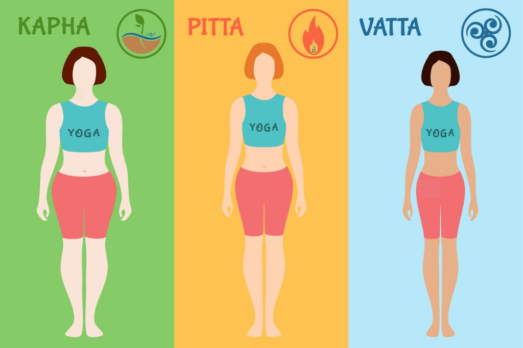 Ayurvedic body types. Doshas vata, pitta, kapha.