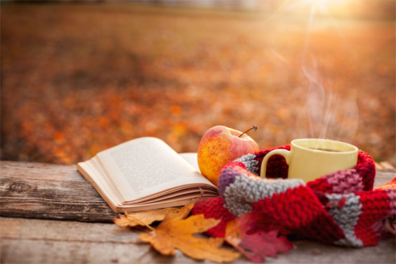 Autumn scene - mug of tea with scarf