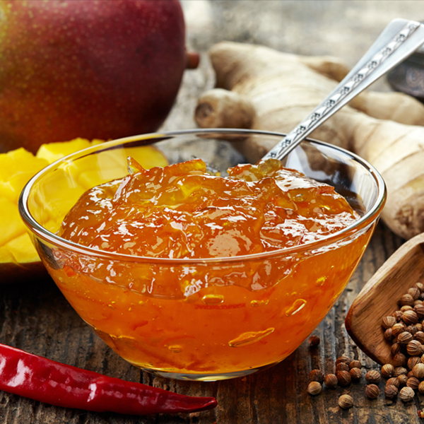 A chutney is a spicy condiment of Indian origin,