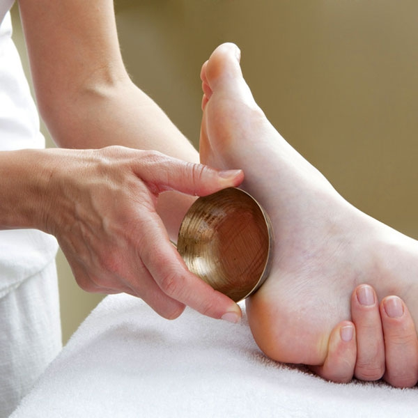 Indian Foot Massage uses the beautiful Kaashi bowl as part of the routine