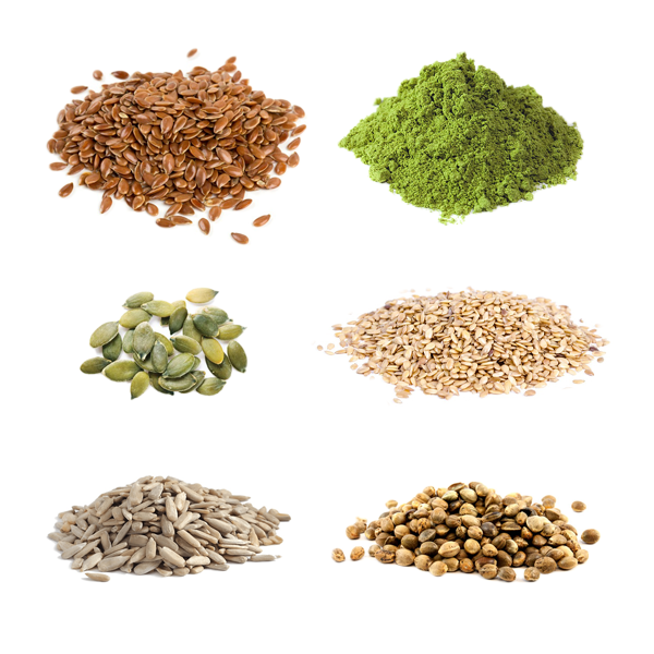 five raw seeds: sunflower, pumpkin, hemp, linseed, and sesame with barley grass powder